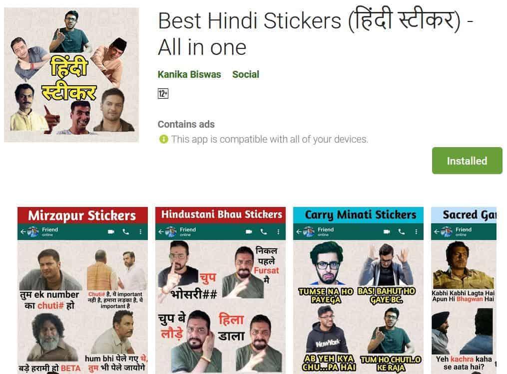 hindi stickers
